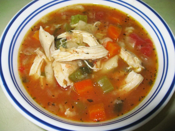 chunky mexican chicken soup bowl