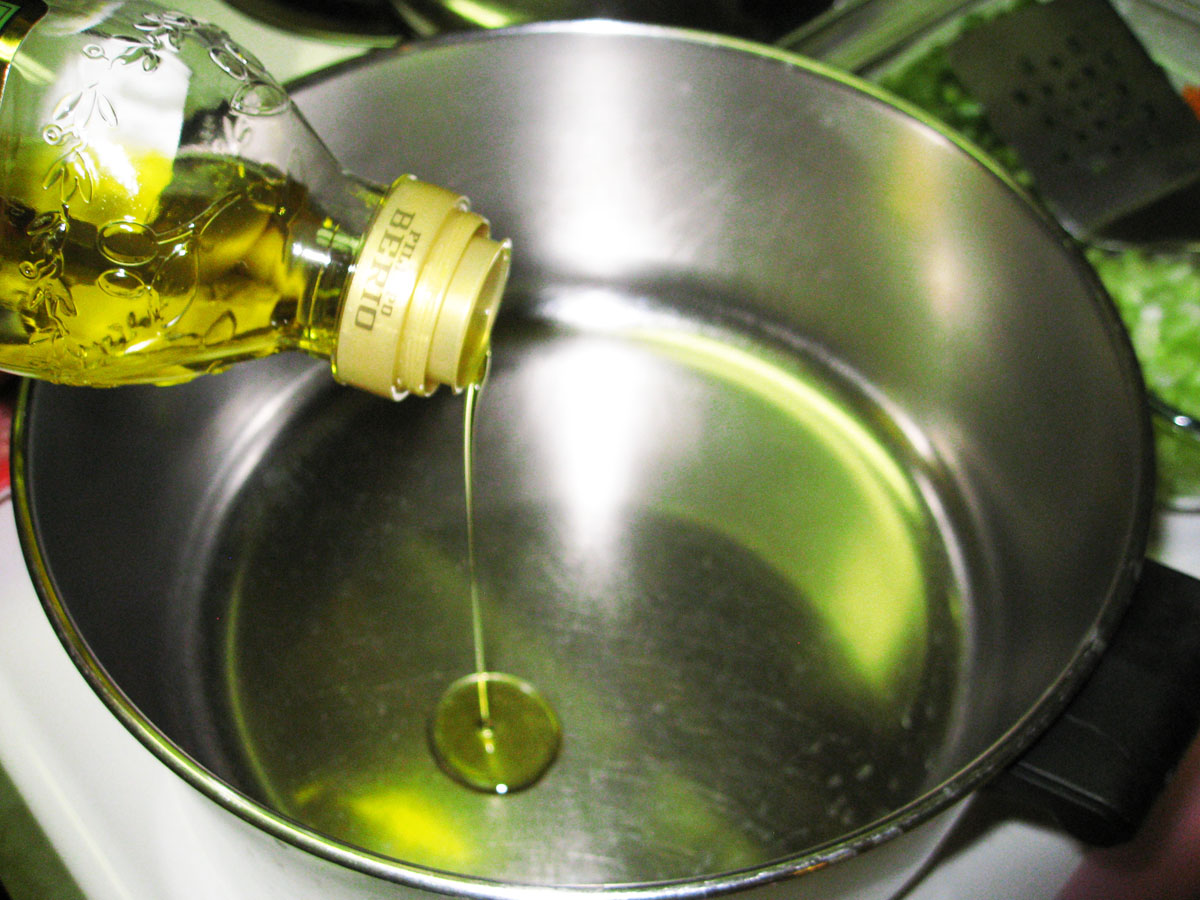 heat pan and add olive oil