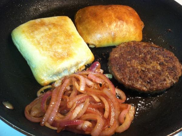 burger, caramelized onion and toasted ciabatta bread