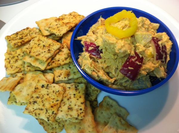 Serve Spicy Curried Chicken Salad with your favorite crackers. These are Herbed and Rosemary Crackers served with Spicy Curried Chicken Salad