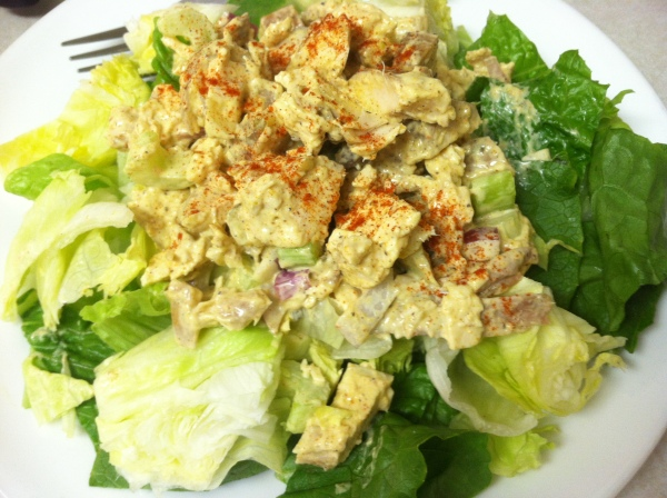 Serve Spicy Chicken Salad over a bed of garden salad...