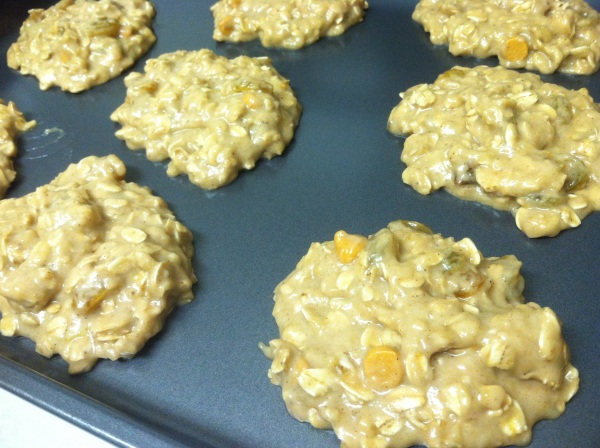 scoop cookies onto a lightly greased dark coated cookies sheets or baking pans. do not over crowd the pan.
