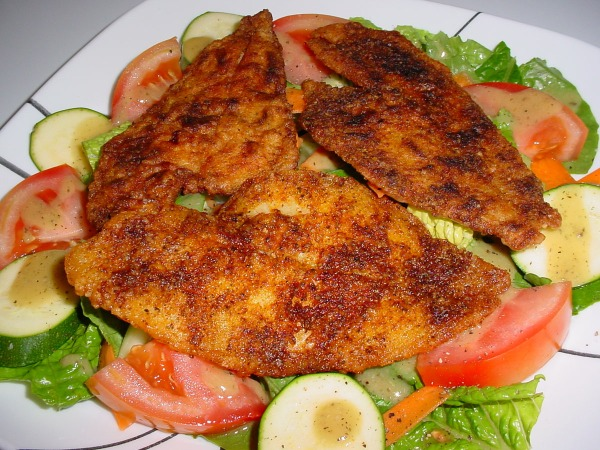 Pan Fried Flounder over garden salad