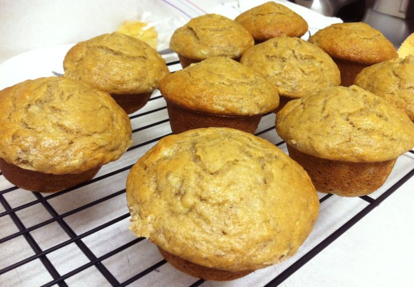 Plain banana brown rice muffins without nuts and chocolate chips