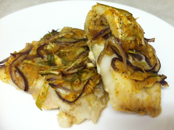 Cod fillets with spicy Asian aromatics.